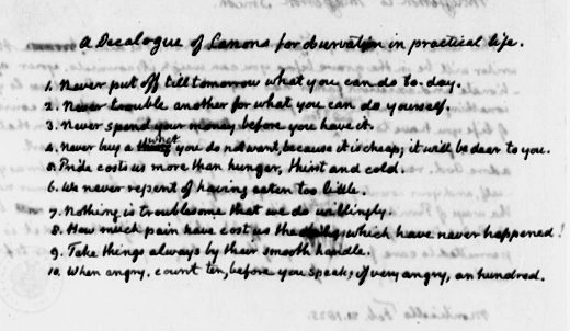 A Decalogue of Canons for observation in practical life by Thomas Jefferson