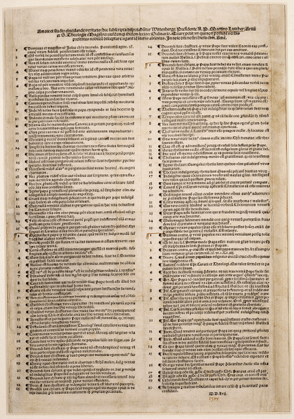 New 95 Theses were inspired by Martin Luther's 95 Theses published in 1517