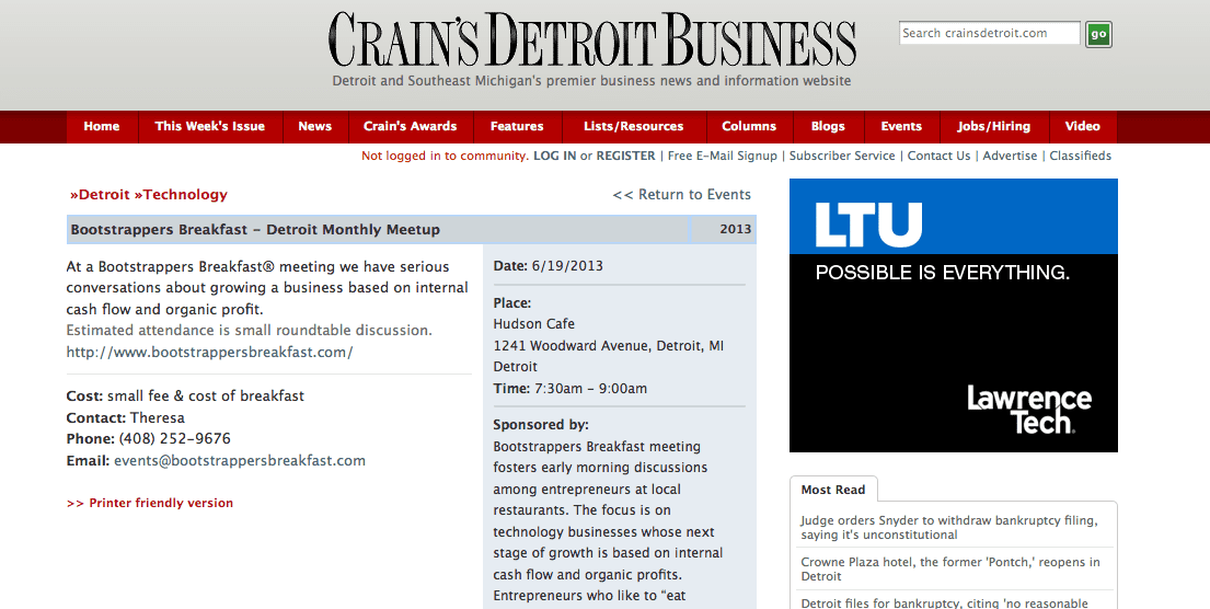 BB Listed in Crain's Detroit Business