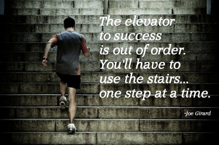 The elevator to success is out of order; you will have to take thestairs.